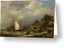 Boats Docking In An Estuary Greeting Card