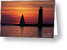 Boats Entering The Channel At The Muskegon Lighthouse Greeting Card