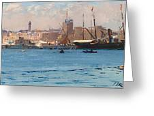 Boats In A Port Greeting Card