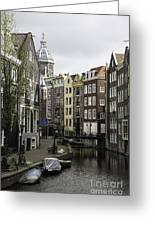 Boats In Canal Amsterdam Greeting Card