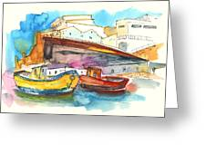 Boats In Ericeira In Portugal Greeting Card by Miki De Goodaboom