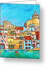 Boats In Front Of The Buildings Vii Greeting Card