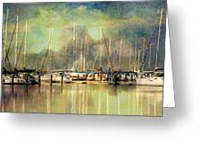 Boats In Harbour Greeting Card