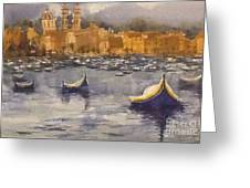 Boats In Malta Greeting Card