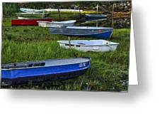 Boats In Marsh - Cape Neddick - Maine Greeting Card