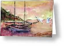 Boats In Sunset  Greeting Card