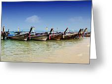 Boats In Thailand Greeting Card by Zoe Ferrie