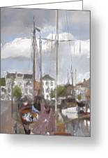 Boats In The Harbor 1905 Greeting Card
