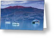 Boats In The Ocean At Dusk, Akaroa Greeting Card