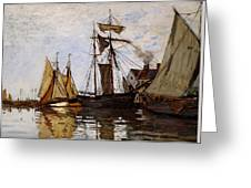 Boats In The Port Of Honfleur Greeting Card by L Brown