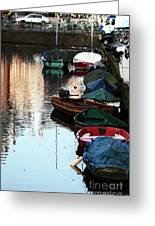 Boats In The Red Light District Greeting Card by John Rizzuto
