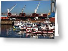 Boats In Valparaiso Greeting Card by John Rizzuto