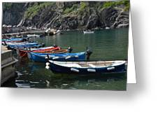 Boats In Vernazza Greeting Card