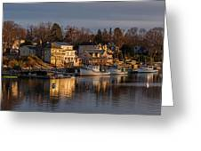 Boats Moored At Harbor During Dusk Greeting Card