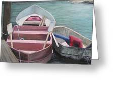 Boats Of The Lighthouse Greeting Card