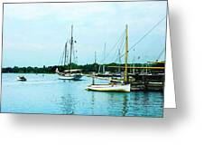 Boats On A Calm Sea Greeting Card