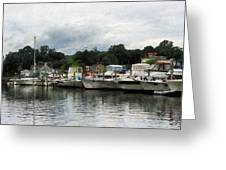 Boats On A Cloudy Day Essex Ct Greeting Card