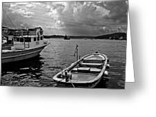 Boats On Bosphorus Greeting Card