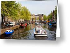 Boats On Canal Tour In Amsterdam Greeting Card