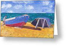 Boats On Cascais Beach Greeting Card