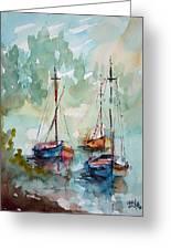 Boats On Lake  Greeting Card