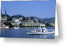 Boats On Lake Geneva Greeting Card