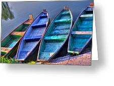 Boats On River Greeting Card