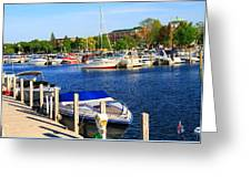 Boats On The Dock Traverse City Greeting Card