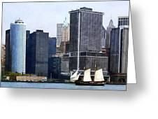 Boats - Schooner Against The Manhattan Skyline Greeting Card