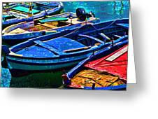 Boats Snuggling - Sicily Greeting Card