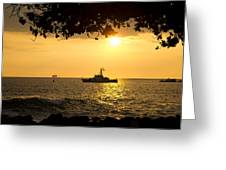 Boats Under The Hawaiian Sunset Greeting Card