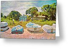 Boats Up On The Beach - Horizontal Greeting Card