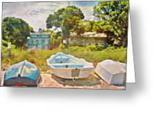 Boats Up On The Beach - Square Greeting Card
