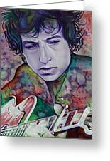 Bob Dylan-pink And Green Greeting Card by Joshua Morton