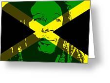 Bob Marley On Jamaican Flag Greeting Card