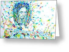 Bob Marley Playing The Guitar - Watercolor Portarit Greeting Card