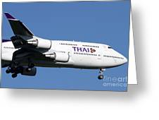 Boeing 747-400 Of Thai International Greeting Card