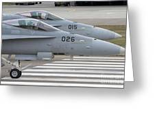 Boeing Fa-18 Hornets Of The Swiss Air Greeting Card