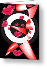 Bogie Lips Lady Red Black White Expressions   Greeting Card