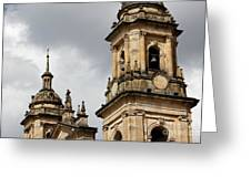 Bogota Cathedral Towers Greeting Card