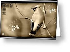Bohemian Waxwing In Sepia Greeting Card