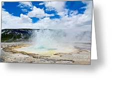 Boiling Point - Geyser Eruption In Yellowstone National Park Greeting Card
