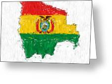 Bolivia Painted Flag Map Greeting Card