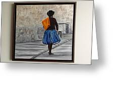 Bolivian Chola In Blue Skirt Greeting Card by Marcella Haugaard