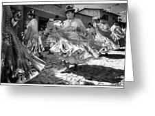 Bolivian Dance Framed Black And White Greeting Card