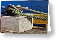 Bollard Closeup - Ropes - Mooring Lines - Wharf Greeting Card