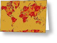 Bollywood Colors Awesome Paisley World Map Greeting Card