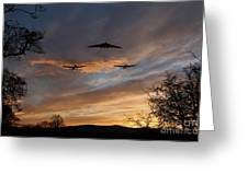 Bombers Pass By  Greeting Card