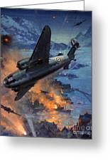 Bombing Scene Artist C E Turner  Greeting Card