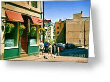 Bonaparte 4 Star Classic French Resto Vieux Montreal Paris Style Bistro Paintings Carole Spandau Art Greeting Card